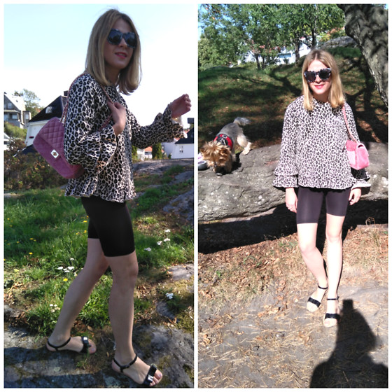 Alla Dolzhenko - Lindex Leopard Sweatshirt, Bycycles, Kari Sandals With Baw, Love Republic Pink Bag, Gloria Jeans Frames Bl&Wh - Wild cat