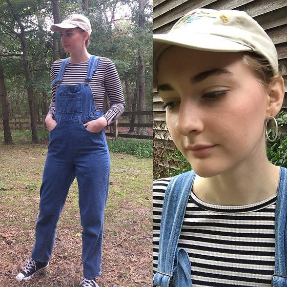 Kim Guthrie - Overalls, Striped Long Sleeved Shirt, Converse High Tops, Beige Cap, Silver Hoops - Happy Fall children