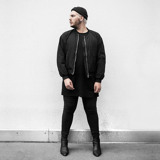 Wyatt Morgan - Asos Design Beanie, Monki Cropped Bomber Jacket, Weekday Shirt Dress, Syro Black Ankle Boots - 24 09
