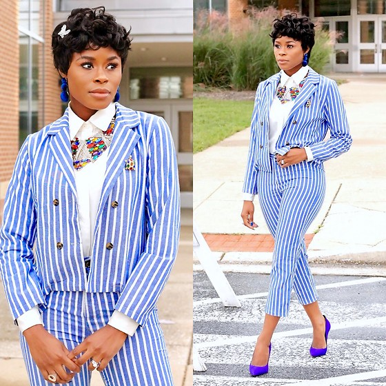 TOMGFASHION COM - Shein Striped Double Button Suit - HOW TO WEAR A STRIPED DOUBLE BUTTON BLAZERS WITH PANTS