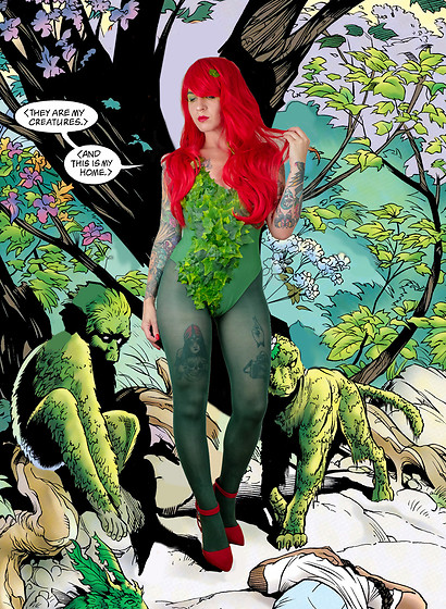 Jessie Barber - Amazon Red Wig, Green Swimsuit, Faux Ivy, Green Tights, Forever 21 Red Heels - Poison Ivy