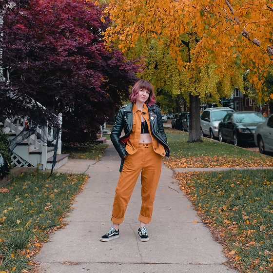 Jessie Barber - Amazon Cord Jacket, Amazon Cord Pants, Vans Old Skool Suede, Michi's Workshop Angie The Snake Pendant, Marshall's Sports Bra, Straight To Hell Leather Jacket - Corduroy