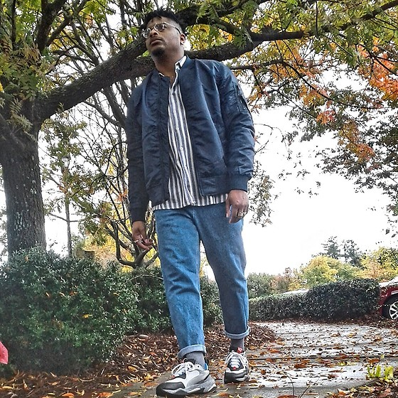 Jason - Puma Electric Thunder, Asos Cropped Jeans, Burlington Coat Factory Bomber Jacket - Fall Trails
