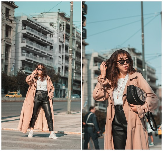 Theoni Argyropoulou - Zaful Trench Coat, Bag, Stradivarius White T Shirt, Bershka Necklaces, Bershka Faux Leather Trousers, Ugly Sneakers, Cat Eye Sunglasses - How to Wear Leather Trousers this Fall on somethingvogue.com