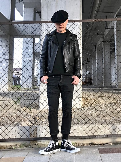 ★masaki★ - Newyorkhat Casquette, H&M Premium Leather, R13 Denim Jeans, Converse Allstar - ALL BLACK EVERYTHING