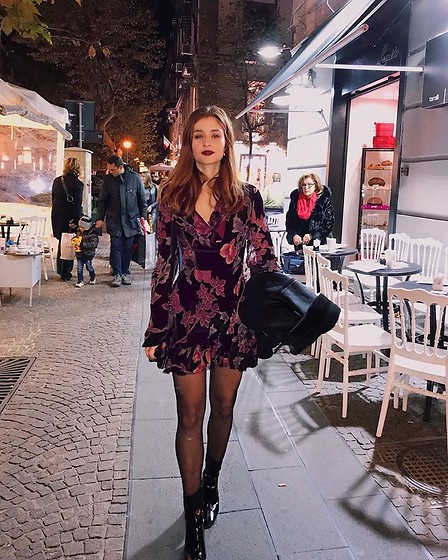 "Leda Spyropoulou - Missguided Plunge Velvet Floral Mini Dress, Missguided Black Vinyl Square Point&Heel Ankle Boots, Ventrone Chronicles Religioso Chain Necklace, Christian Dior Rouge No.995 ""Dark Devil"", Zara Black Street Jacket - Neapolitan Nights"