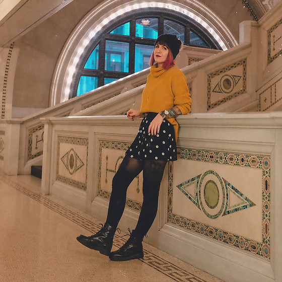 Jessie Barber - Amazon Yellow Sweater, Dr. Martens 1460 Boots, Target Polka Dot Shorts, Gucci Belt, Uniqlo Tights, Free People Thigh High Socks - The Yellow Sweater