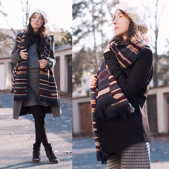 Iva K - Zara Skirt, H&M Knitwear, Diy Beret, Miss Selfridge Coat - Friday