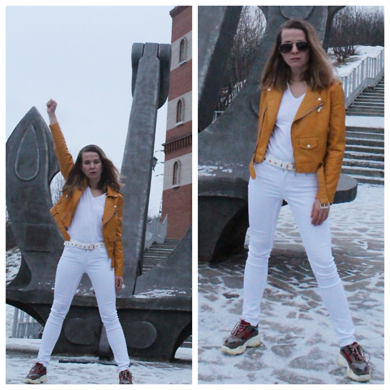 Alla Dolzhenko - Yellow Jacket, Mango White Jeans, White Belt, Sinsay White T Sh, Sneakers - Killer Queen ☆