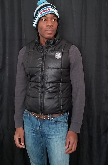 Thomas G - Thirty Five 55 City Of Chicago 'Super Flag' Pom Knit, Aeropostale Puffer Vest, !It Jeans Hottie, Old Navy Longsleeve, Ymi Jeans Studded - Pom knit + Puffer vest + Jeans
