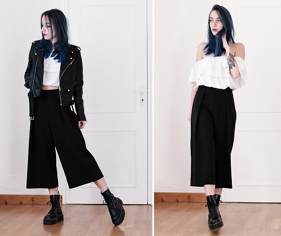 Saskia B. - Missguided Wide Leg Culotte, Jennyfer Crop Top, Dr. Martens Jadon, Leather Jacket - Wide Leg Culotte