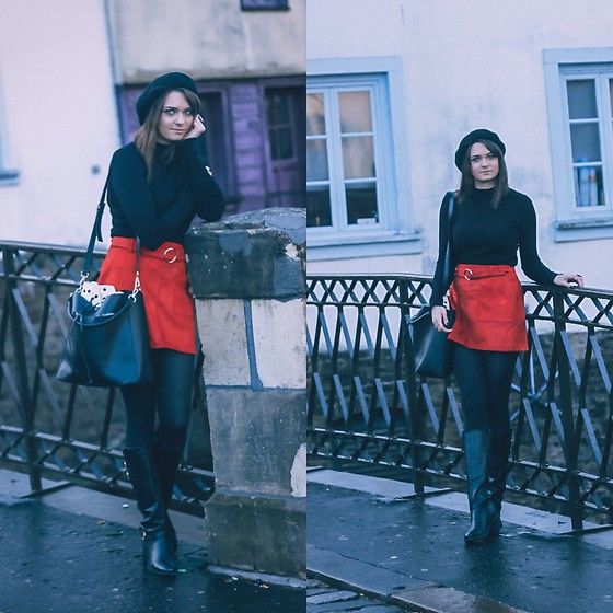 Audrey - Bershka Sweater, Bershka Skirt, H&M Béret, Boohoo Boots - Winter look