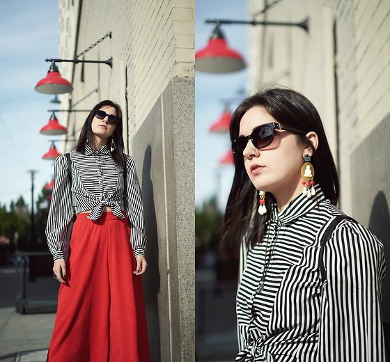 Lexi L - Black And White Stripe Blouse, Urban Outfitters Red Culottes, Linda Farrow X Ann Demeulemeester Sunglasses, Buddha Earrings - New Love