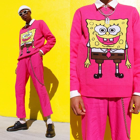 Dominic Grizzelle - Forever 21 Spongebob Knit, Dr. Martens Oxfords, Thrift Pink Trousers - F.U.N.