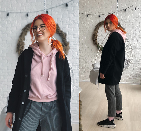 Vlada Kozachyshche - Zaful Earrings, Zaful Hoodie, Topshop Coat, Stradivarius Pants, Forever 21 Socks, Nike Sneakers - Nerd
