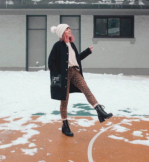 Jessie Barber - Zara Leopard Jeans, Thrifted White Sweater, Amazon Who Are You Peacoat, Marc Fisher Lanie Combat Boot, Dsw Ribbed Socks, Kohl's Double Pom Beanie - Zero Degrees
