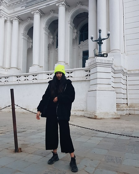 Callmekaali Mgr-nee - New Look Jumpsuit, Asos Borg Jacket, Asos Beanie, Adidas Kicks - Pop of colour