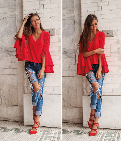 Jenny Mehlmann - Nordstrom Red Bell Sleeves Blouse, American Eagle Outfitters Ripped Denim, Zara Red Suede Pumps - RED RED WINE // @thehungarianbrunette