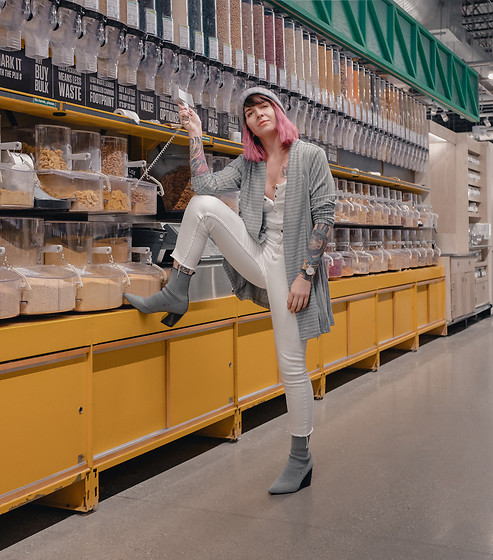 Jessie Barber - Amazon Striped Knit Cardigan, Target White Snap Placket Tank Top, Dsw Milkway Boot, J. Crew Pom Beanie, Cheap Monday White Denim - Against the Grain