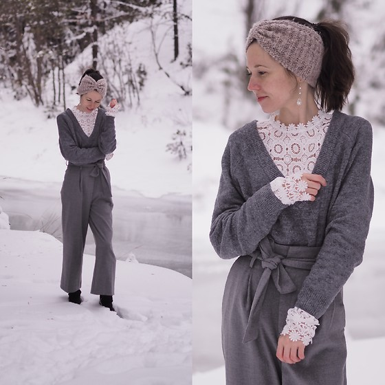 Claire H - H&M Sweater, H&M Pants, Shein White Crochet Blouse, Högl Winter Boots - Good bye Winter