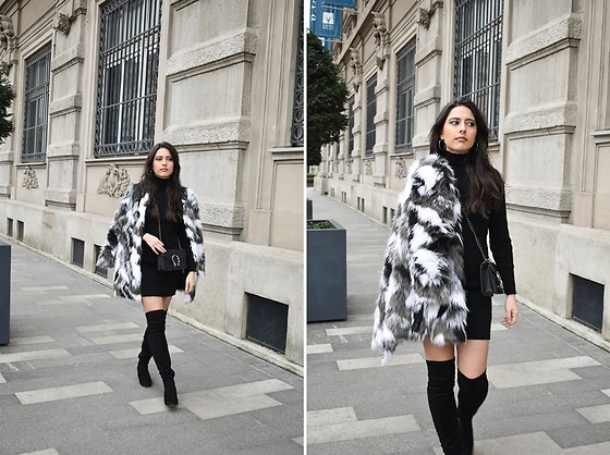 "Jelena Dimić - Shein Faux Fur Coat, Femmeluxe Bodycon Dress ""Esmelia"", Aliexpress Bag, Exit Butik Over The Knee Boots - And you're at home like: ""Damn, she can't compare"""