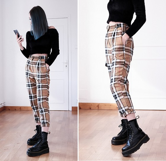 Saskia B. - Love Too True Ashley Classic, H&M Fluffy Crop Top, Dr. Martens Jadon - Tartan