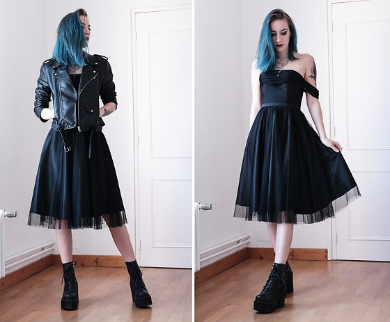 Saskia B. - Jj's House Prom Dress, Unif Choke Boots, Leather Jacket - Prom dress & platform boots