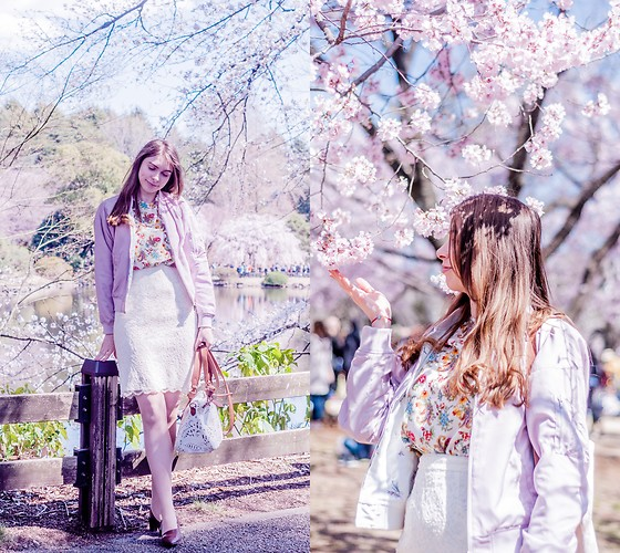 Ana B - Charles & Keith Shoes, Desigual Bag, Uniqlo Lace Skirt - Sakura Season