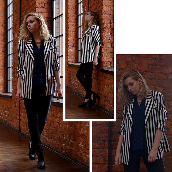Iga Parker - Thrift Shop Stripy Blazer, Five Jeans - Smart casual