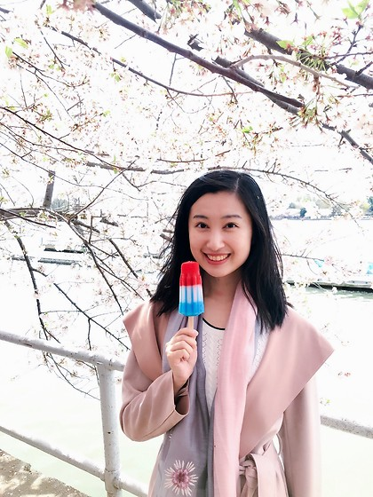 Jade Zhu - Zara Coat - Red White Blue Ice