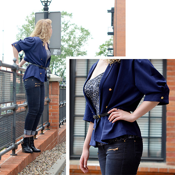 Iga Parker - Denimbox Jeans, Thrift Shop Blouse - Blue