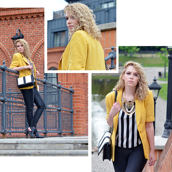Iga Parker - H&M Black And White Bag, Five Jeans, Thrift Shop Short Sleeve Blazer - Black'n'yellow