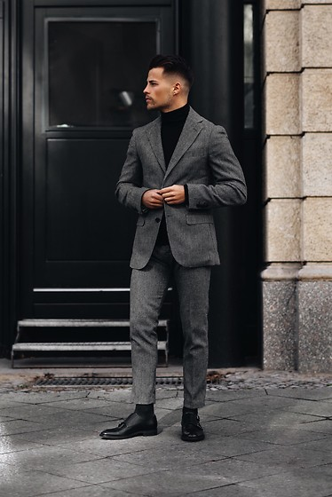Kevin Elezaj - Hugo Boss Shoes, Hugo Boss Suit, Acne Studios Sweater - Suit up