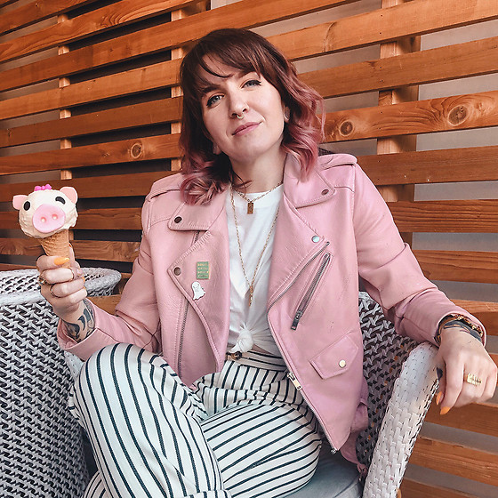 Jessie Barber - Zara Pink Leather Jacket, Madewell Northside Vintage Tee, Madewell Tapered Pants In Stripe - This Little Piggy