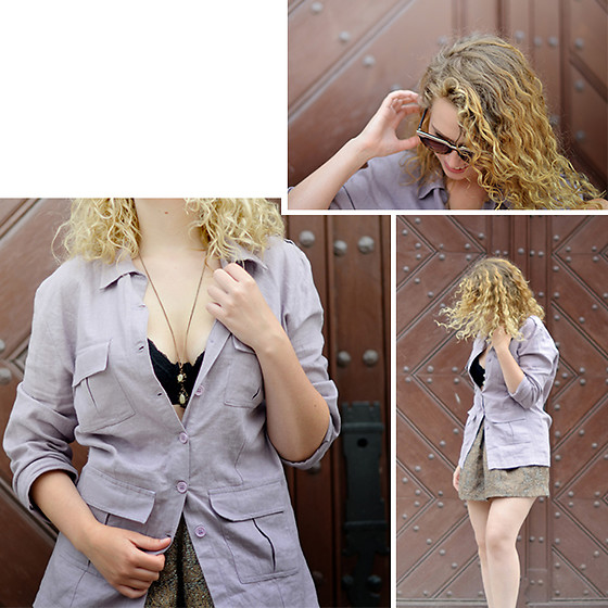 Iga Parker - Primark Jacquard Skirt, Thrift Shop Military Shirt - Sun