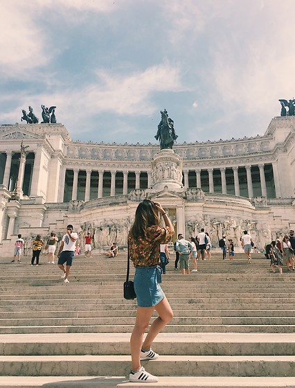 Erika Fuka - Adidas Shoes, H&M Denim Skirt - Piazza Venezia