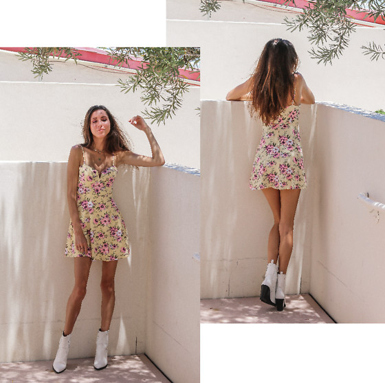 Jenny Mehlmann - Forever 21 Yellow Floral Mini Dress, Aldo White Cowboy Boots - ETHEREAL SUN // thehungarianbrunette.com