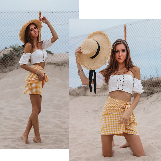 Jenny Mehlmann - Tres Vu White Off The Shoulder Crop Top, Tres Vu Yellow Gingham Skirt, Forever 21 Beach Hat - BEACHY PICNIC VIBE // @thehungarianbrunette