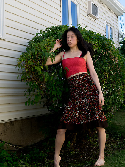 Gi Shieh - Forever 21 Coral Crop Top, Raided Mom's Closet Brown Polka Dot Skirt - LATE SUMMER//EARLY FALL