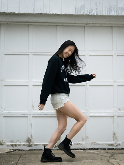 Gi Shieh - Black Graphic Sweatshirt, H&M Light Denim Shorts, Dr. Martens Black Canvas Boots - SWEATER WEATHER
