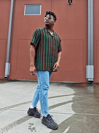 Jason - Adidas Yeezy Utility Black, Cropped Denim, Urban Outfitters Striped Shirt - Black Stripes