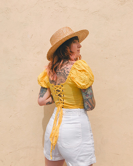 Jessie Barber - The Gap White Shorts, San Diego Hat Company Straw, Forever 21 Yellow Top - Down the Coast