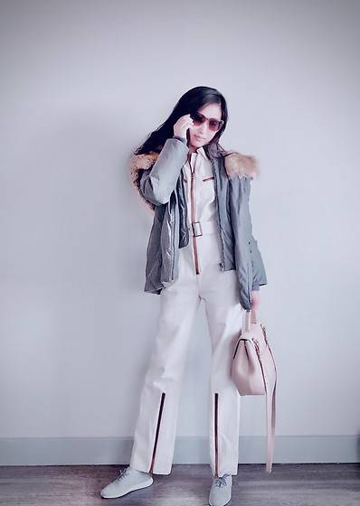 Jade Zhu - Cole Haan Sneaker, J. Crew Sunglasses, Aritzia Down Jacket, Polene Handbag, Choosy Jumpsuit - Change in Style