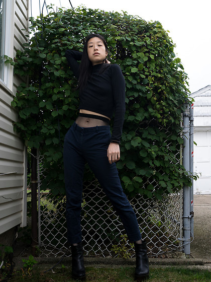 Gi Shieh - H&M Black Long Sleeve Turtleneck Cropped Top, Gap Navy Slacks, H&M Black Fishnet Tights, Aldo Black Platform Boots - Black and Blue--not taboo!