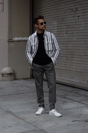 Kevin Elezaj - Common Projects Sneakers, Cos Suit Pants, Aime Leon Dore Sweater, Samsoe Shirt, Moscot Glasses - When in NYC