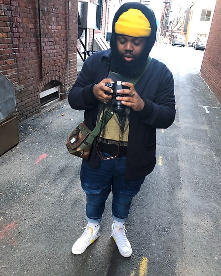 Akil Carter - Uniqlo Workers Jacket, Zara Custom Soft Denim Joggers, Asos Snoop Dogg Tee, Herschel Mini Messenger Bag, H&M Yellow Beanie, Nike Blazer Mid Vintage 77 - Work day