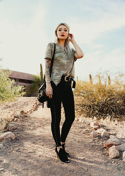 Trina M - Michael Kors Procida Eyeglasses, Free People Tourist Printed Tee, The Great Frog Engraved Dagger Pendant, B Low The Belt Frank, Allsaints Miki Sliver Crossbody, Levi's® Mile High Super Skinny Studded Ankle Women's Jeans, Jeffrey Campbell Shoes Cromwell Boot - Camo In The Desert