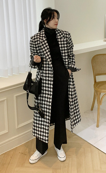 Miamiyu K - Miamasvin Quilt Lined Houndstooth Pattern Coat - Matrix Maiden