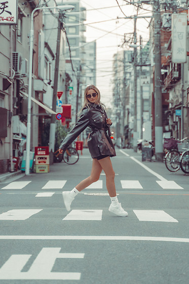 Adriana M. - Pull & Bear Denim Jacket, Nike Air Force - Tokyo streets #1