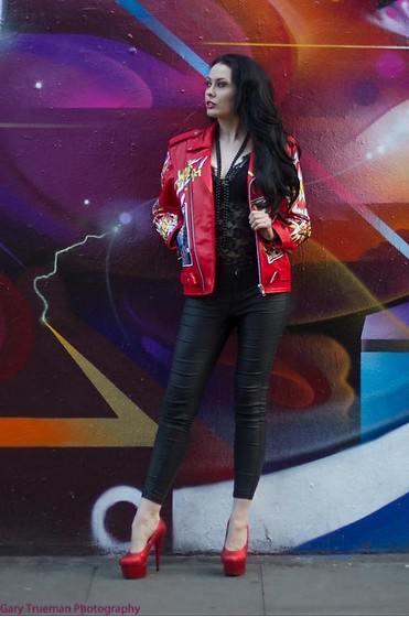 Kate Lomax - Kate Lomax Art Custom Painted Leather Jacket - Paint The Town Red